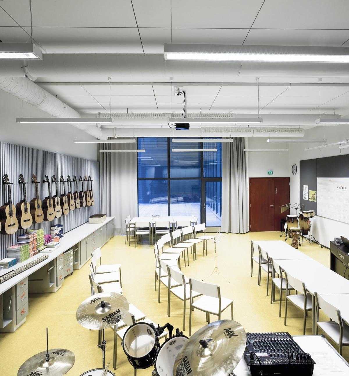 classroom acoustics installation - ecophon - john atkinson interiors and acoustics