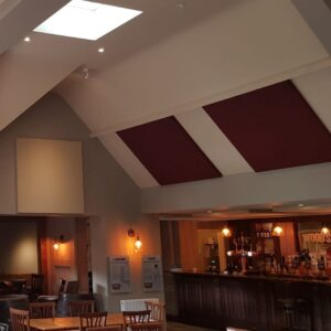 printed acoustic panels installation at the plough John atkinson interiors