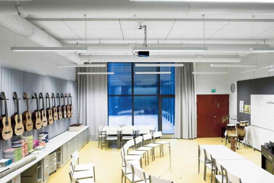 Ecophon Ceiling Installation In A Music Classroom - John Atkinson Interiors And Acoustics