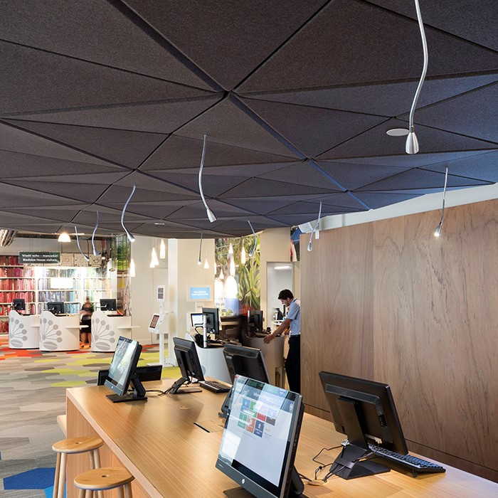 office acoustics installation of autex 3d ceiling tiles. john atkinson acoustics