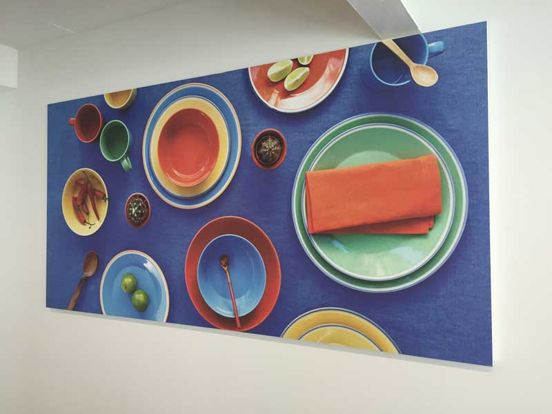 installation of printed acoustic panel