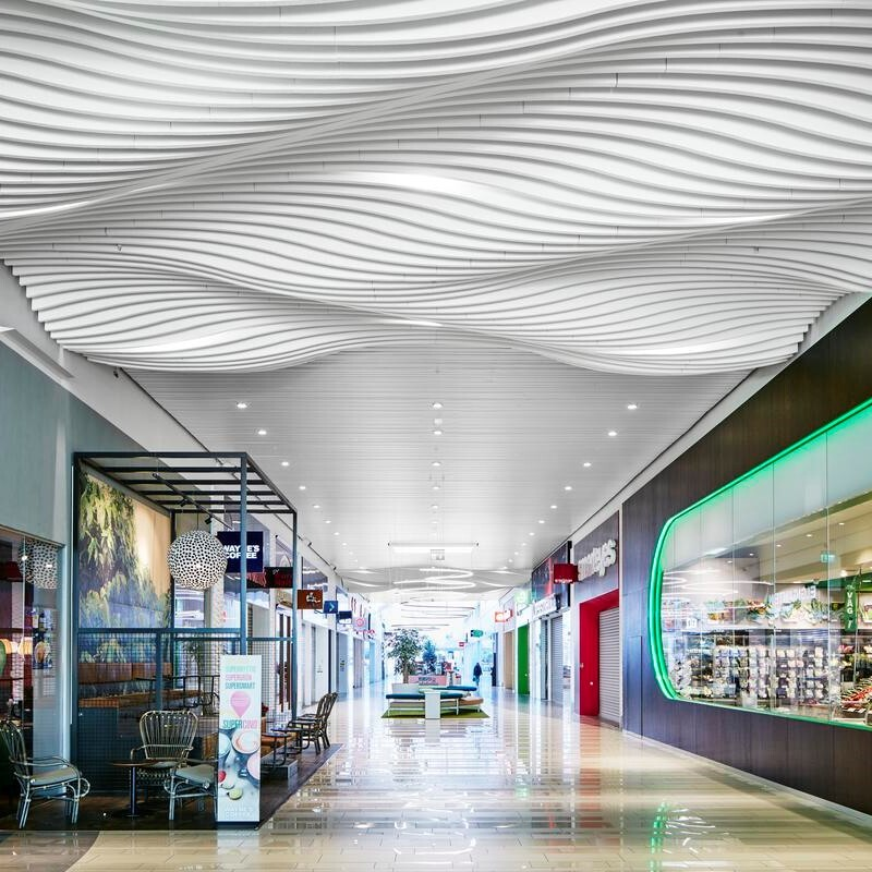 Acoustic Baffle Installation With Wave Effect - John Atkinson Interiors And Acoustics