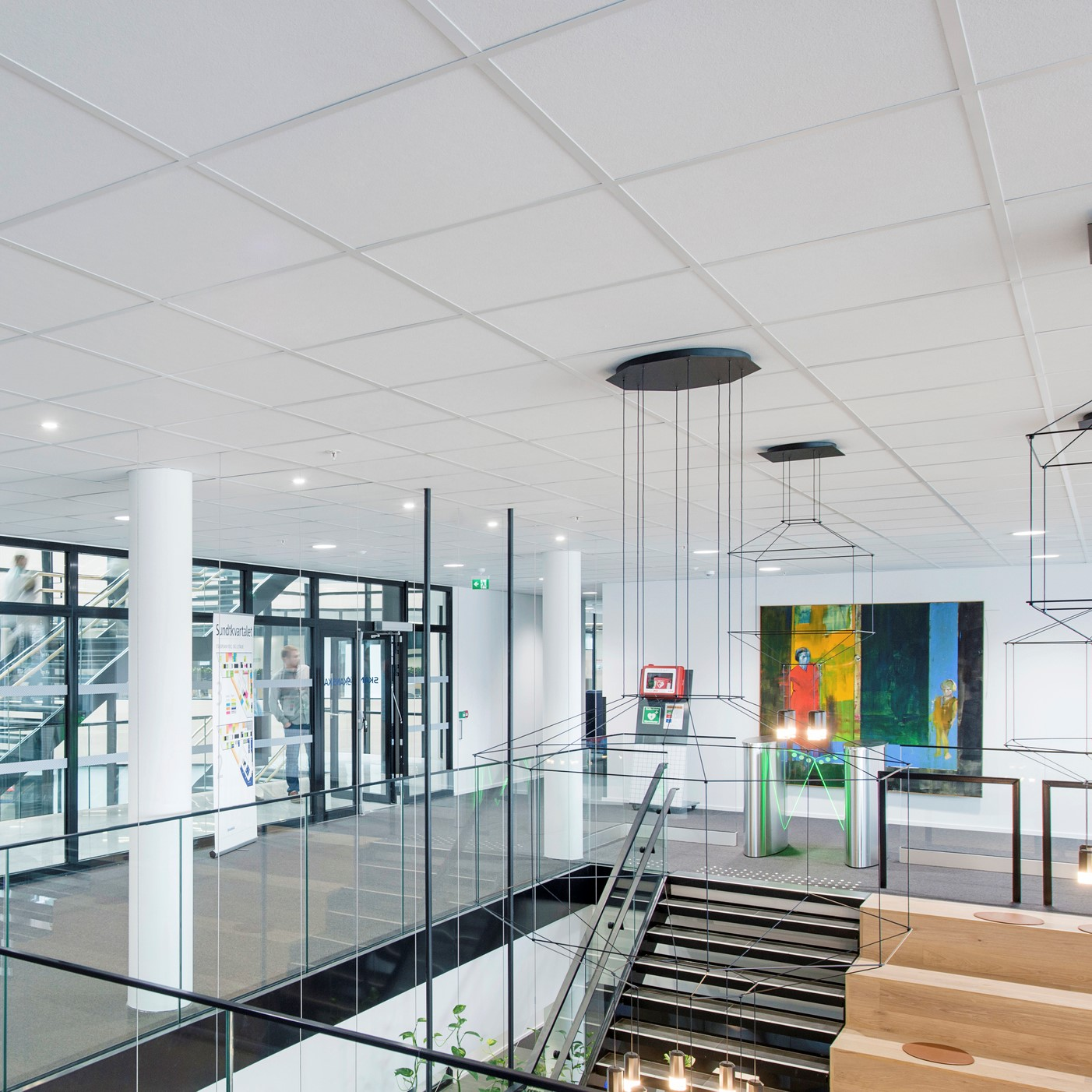 acoustic suspended ceiling installation by John Atkinson acoustics